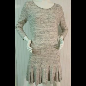 Join knit gray tunic dress with pleated skirt LG